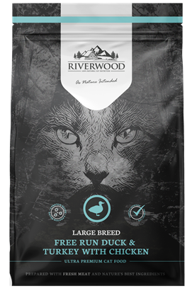 Riverwood Large Breed Kat - Eend & Kalkoen met Kip